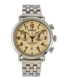 41mm Runwell Mens Chronograph Watch, Stainless Steel/Golden Dial   Shinola