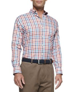 Mens Poplin Check Sport Shirt, Orange Blue Red Multi   Peter Millar   Orange