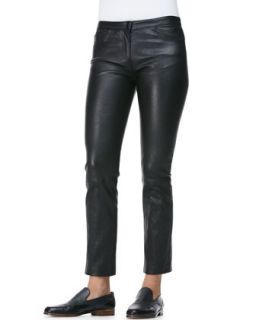 Womens Five Pocket Leather Ankle Jeans   THE ROW   Black (6)