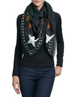 Doberman Square Wool Scarf, Emerald Green   Givenchy   Emerald green