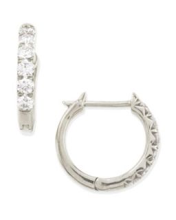 18k White Gold Pave Diamond Hoop Earrings, 17mm   JudeFrances Jewelry   White
