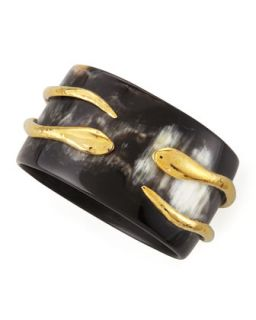 Pacha Bronze Tubed Snake Bangle, Dark Horn   Ashley Pittman   Black