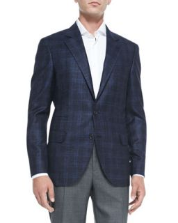 Mens Wool/Cashmere Plaid Jacket, Blue   Brunello Cucinelli   Blue (50)