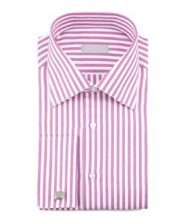 Mens Awning Stripe Dress Shirt, Magenta/White   Stefano Ricci   Mgnt 1 (17)
