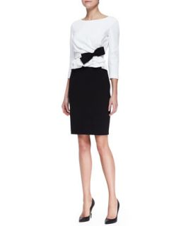 Womens Bicolor Pleated Front Dress with Bow, White/Black   Paule Ka