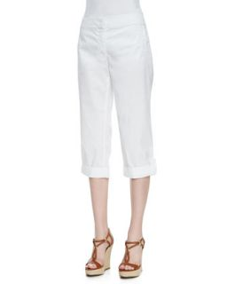 Cuffed Twill Capri Pants, White, Womens   Eileen Fisher   White (1X (14/16))