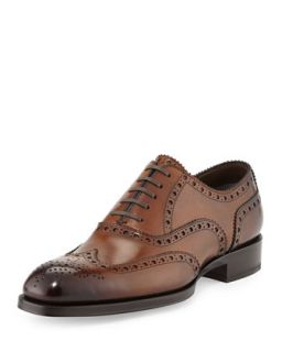 Mens Edward Wing Tip Oxford, Caramel   Tom Ford   Caramel (10TT/ 10EE)