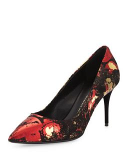 Yvette Foil Point Toe Pump, Black/Red/Gold   Giuseppe Zanotti   Black (6 1/2 B)