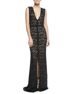 Womens Mia Front Slit Lace Gown   Alice + Olivia   Black (4)