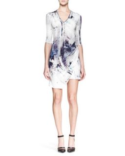 Womens Tidal Printed Jersey Dress   Helmut Lang   Mercury multi (LARGE)