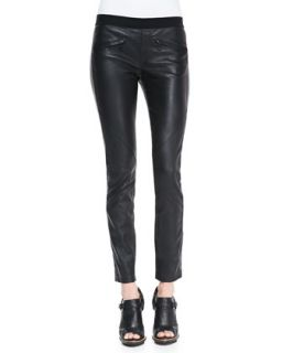 Womens Zip Pocket Pull On Leather Pants   Belstaff   Black (40/4)