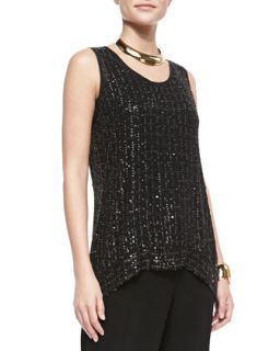 Womens Sequin Raindrop Knit Shell   Eileen Fisher   Black (L (14/16))