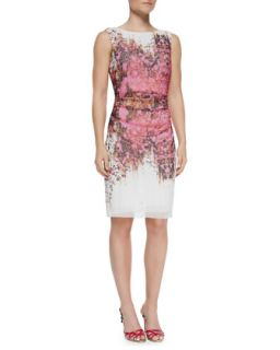 Womens Sleeveless Ruched Floral Sheath Dress   Kay Unger New York   Pink multi