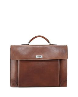 Mens Leather Portfolio Briefcase, Cognac   Brunello Cucinelli   Cognac