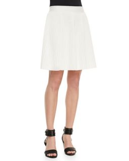 Womens Pleated Stretch Jersey Skirt   Rebecca Taylor   Alabaster (SMALL)