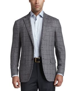 Mens Plaid Elbow Patch Sport Coat   Ermenegildo Zegna   (44R)