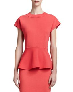 Womens Milano Knit Cap Sleeve Peplum Top, Hibiscus   St. John Collection