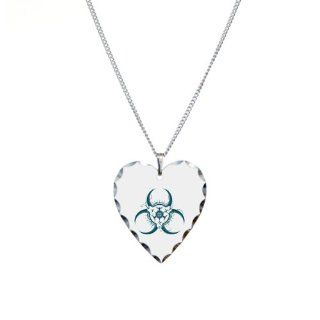 Necklace Heart Charm Biohazard Symbol Pendant Necklaces Jewelry