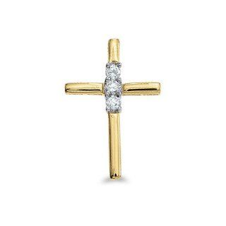 "14K Yellow Gold Diamond Cross Pendant with 18"" Chain Jewelry"