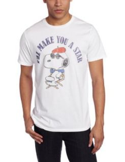 JUNK FOOD CLOTHING Men's Snoopy I'll Make You A Star Shirt, Electric White, Large Clothing