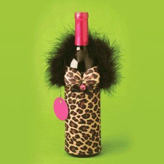 Leopard Bottle Babes Wine Bottle Cover Dress Up Beverage Container Sleeve Kitchen & Dining