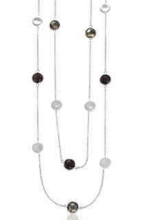 Marco Bicego Inspired Matte Round Smokey Quartz Gem 36 Inch Rhodium Plated Sterling Silver Necklace (Nice Gift, Special Sale) Jewels Lovers Jewelry