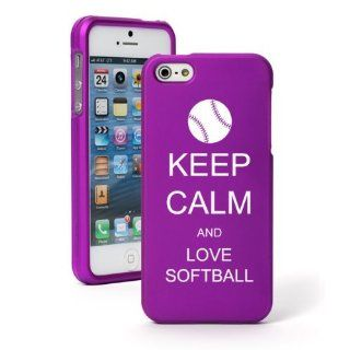 Apple iPhone 5 5S Purple Rubber Hard Case Snap on 2 piece Keep Calm and Love Softball Cell Phones & Accessories