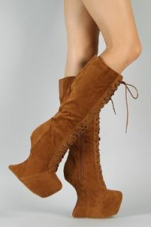Vintage Goddess 08 Heel Less Laced Knee High Boots TAN ( on all add'l items) (7) Shoes