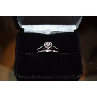 10K White Gold Diamond Ladies Bridal Engagement Ring with Matching Wedding Band Two 2 Ring Set   Halo Heart Shape Center Setting w/ Channel Set Princess Cut & Round Diamonds   (.55 cttw) Sonia Jewels Jewelry