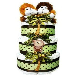 My Little Monkey New Baby Diaper Cake Gift Tower Nuetral for Boys, Girls or Twins  Baby Gift Baskets  Baby