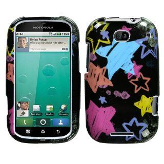 Hard Plastic Snap on Cover Fits Motorola MB520 Bravo Chalkboard Star Black AT&T Cell Phones & Accessories