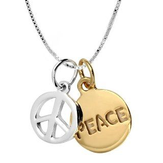 "14k Yellow Gold Plated Sterling Silver ""Peace"" and Peace Sign ""Two Tone"" Charm Necklace, 18"" Jewelry"
