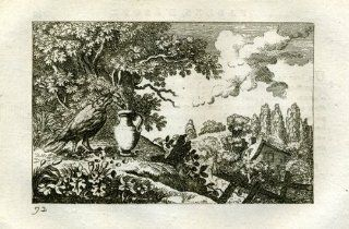 ANTIQUE PRINT AESOP'S FABLE THIRSTY CROW Barlow 1802   Etchings Prints