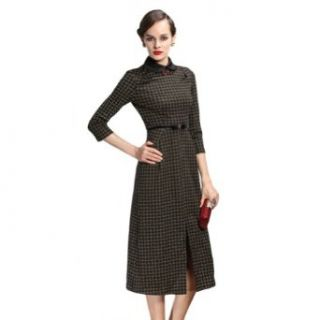 New Women's Peter Pan Collar 3/4 Sleeves Elegant Slim Fit Dress (S)