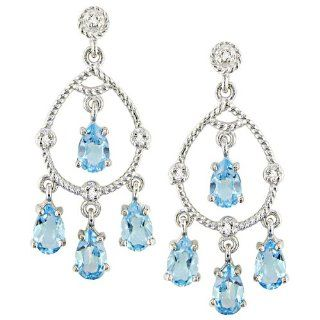 10k White Gold Blue Topaz Rope Design Chandelier Earrings Jewelry