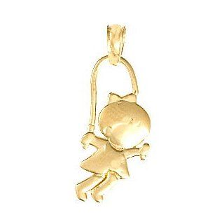 14k Gold Children's Necklace Charm Pendant, Little Girl Jumping Rope Floating (n Baby Girl Pendant Gift For Mother Jewelry