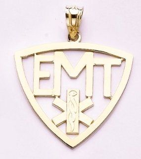 "Gold Misc Charm Pendant ""emt"" In Frame W Symbol High Polish& Cut out Jewelry"