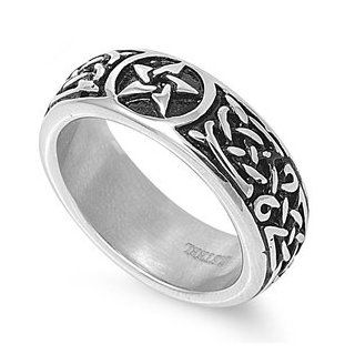 Polished Stainless Steel Ring with Celtic Star Design Jewelry