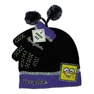 SpongeBob Happy Face Child's Knit Hat and Gloves Set (Black/Purple) Clothing