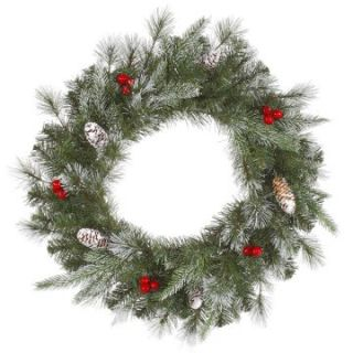 Vickerman Pre Lit Frosted Pine Berry Wreath   Christmas Wreaths