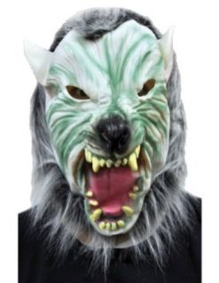 Scary Masks Silver Wolf With Hair Mask Halloween Costume   Most Adults Clothing