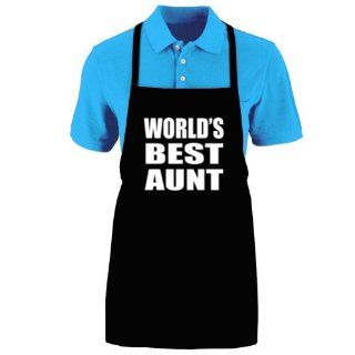 "Funny ""WORLD'S BEST AUNT"" Apron; One Size Fits Most   Medium Length Kitchen Aprons for Men, Women, Teen, & Kids (Unisex); Soft Cotton Polyester Mix with DuPont Teflon Fabric Protector. Great gift idea."