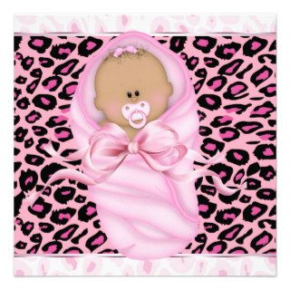 Baby Girl Pink Black Leopard Baby Girl Shower Custom Invite