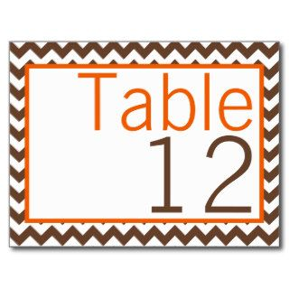 Table Number Card Brown Orange Chevron Name Post Card