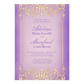 Nouveau Victorian Pretty Lilac & Gold Wedding Custom Invitations