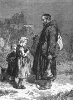 CHILDREN Too much and too little, antique print, 1863