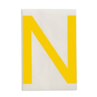 "Brady 121774 ToughStripe Die Cut Polyester Tape, Yellow Letter ""N"" Industrial Floor Warning Signs"