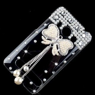 New Hot Cute 3D Pearl Bow Bowknot Tassel Crystal Bling Diamond Clear Hard Back Case Cover for HTC Sprint Evo 4G Cell Phones & Accessories