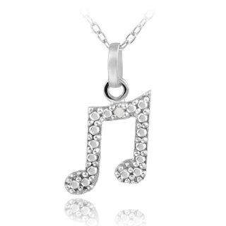 Sterling Silver Diamond Accent Music Note Necklace Pendant Necklaces Jewelry