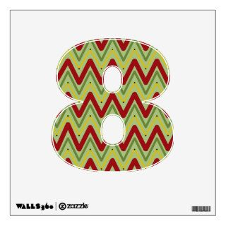 "Christmas Chevron Number ""8"" Wall Decal"